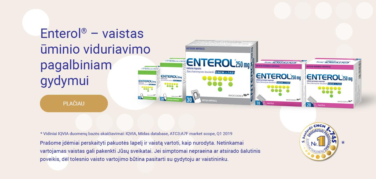 Enterol<sup>®</sup> – vaistas ūminio viduriavimo pagalbiniam gydymui