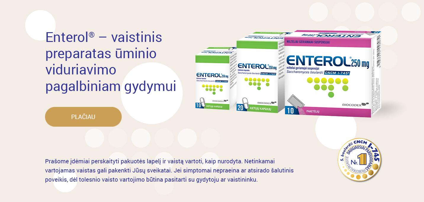 Enterol<sup>®</sup> – vaistinis preparatas ūminio viduriavimo pagalbiniam gydymui